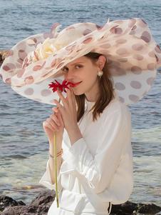 Disfraz Carnaval Sombrero retro de ala ancha de organza con lunares y organza para mujer Carnaval