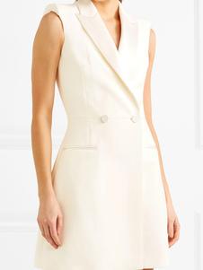 abrigo mujer blanco de cuello vuelto de poliéster sin mangas con botones con cierre de botón en la parte delantera Normal estilo informal Otoño