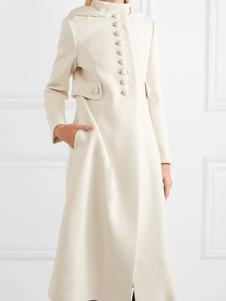 Casacos Para Mulher Branco Com Capuz Mangas Compridas Botões Casaco Maxi Casual