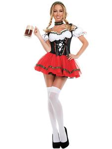 Costume Carnevale Costume da ragazza di birra Vestito da choker rosso nero Set Costumi per le feste Costumi dell'Oktoberfest