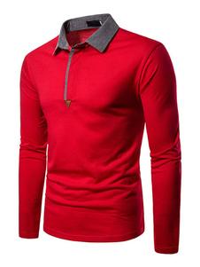 Мужская рубашка поло с отложным воротником и длинными рукавами Slim Fit Red Smart Рубашки поло