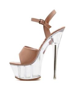 "Sandálias sexy para mulher Nude couro aberto Toe 2 ""5.9"" salto claro sapatos sensuais"