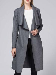 Женское пальто с V-образным вырезом с длинными рукавами плиссированное ретро зимнее пальто