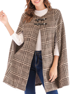 Mulheres Poncho Plaid Jewel Neck Camel Poncho Layered Buttons Cape