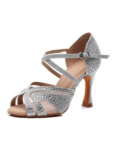 أحذية الرقص اللاتينية المخصصة للمرأة الفضة زقزقة إصبع القدم أحجار الراين أحذية قاعة الرقص