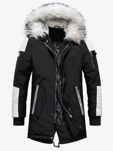 الرجال سترة اليومية عارضة مقنعين معطف الشتاء الدافئة أبلى