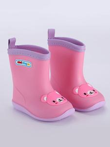 Crianças botas de chuva meninos meninas crianças dedo do pé redondo gato bonito dos desenhos animados urso sapatos de chuva