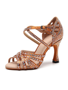 أحذية الرقص اللاتينية المخصصة للمرأة الساتان المفتوحة أحجار الراين الفاخرة قاعة أحذية الرقص