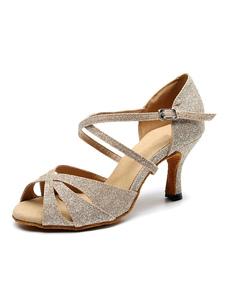Sapatos de dança latina personalizados para mulheres, sapatos de dança de salão de ouro claro