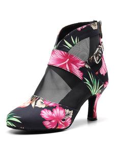Обувь для латинского танца Черный круглый носок с цветочным принтом Ботинки для бальных танцев