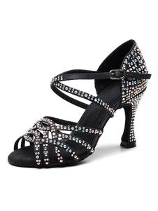 تخصيص أحذية الرقص اللاتينية المرأة الساتان الأسود زقزقة اصبع القدم أحجار الراين الفاخرة قاعة أحذية الرقص