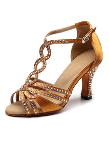 Zapatos de baile latino personalizados para mujer Zapatos de baile de salón de diamantes de imitación de satén de lujo