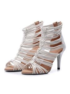 أحذية الرقص اللاتينية المخصصة للمرأة أحذية بيضاء زقزقة اصبع القدم قاعة الرقص