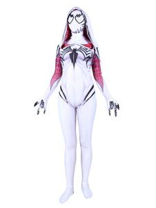 Carnaval Gwen Stacy Cosplay Verom White Film Jumpsuit Leotard Marvel Comics Cosplay Disfraz