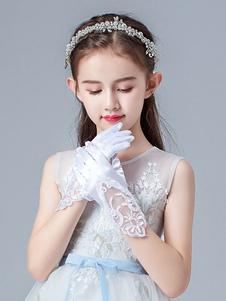 Цветочные аксессуары для девочек Перчатки розовые кружевные короткие Цветочные аксессуары для девочек