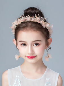 Acessórios para a Cabeça de Menina de Flor Pérolas Rosa Acessórios para Pérolas Acessórios para Cabelo para Crianças