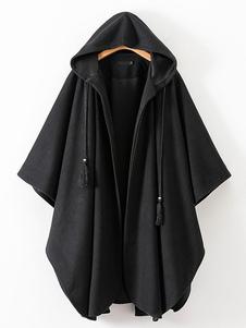 المرأة المعطف مقنع المعطف الأسود شرابات الرأس