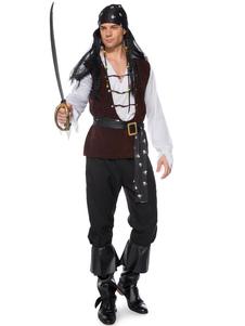 القراصنة هالوين ازياء الرجال السود 4 قطعة الأعياد الأزياء