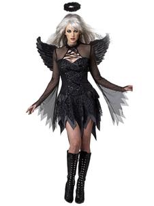 Costume Carnevale Costumi di Halloween di angelo Costumi da festa da donna semi trasparenti neri
