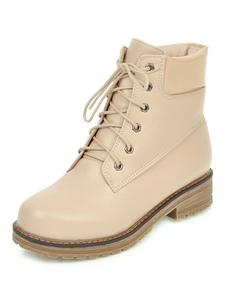 Botas militares mujer marfil  botines mujer de tacón gordo de puntera redonda 3.5cm de PU Otoño Primavera Color liso con cinta
