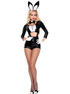 Сексуальный костюм зайчика с бантом двухцветный PU черный женский 5 шт набор
