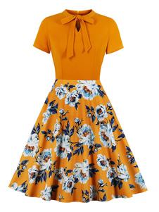 Vestido vintage 1950 laranja floral impressão atada mangas curtas embelezado colar balanço vestido