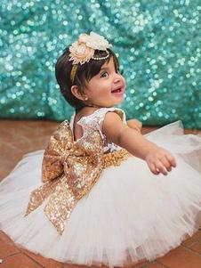 Платья для девочек-цветочков Bows Sash Рукава Jewel Neck без рукавов Вечерние платья для детей
