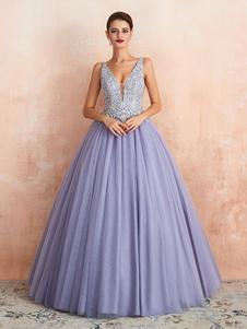 Vestido de novia Princess A Line Hasta el suelo Cuello en V Sin mangas Cintura elevada Encaje Tul Vestidos de novia