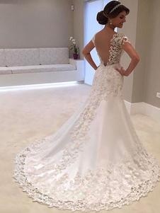 Vestidos De Noiva 2020 Decote Em V Manga Curta Bainha Profunda V Sem Encosto De Renda Frisado Vestidos De Noiva Com Cauda