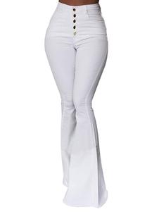 Calças brancas de Bell inferior Jeans Mulher cintura alta Flared Leg Denim