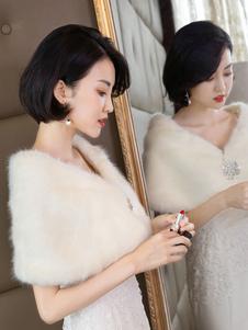 Envoltórios de casamento Acessórios Faux Fur Buttons Capa de noiva Ups