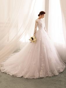 Abiti da Sposa 2020 Abiti da Sposa in Tulle di Pizzo in Vita Naturale con Maniche Lunghe A Pipistrello Silhouette Principessa