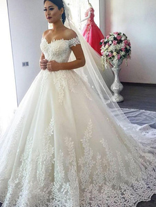الكرة ثوب ثوب الزفاف 2020 قبالة الكتف أكمام الطبيعية الخصر قطار المحكمة أثواب الزفاف