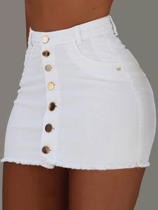Botão sexy da saia do clube acima da mini saia do montante