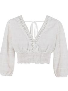 Top corto de mujer con cuello en V blanco volantes fruncido medias mangas Tops de algodón