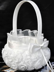 Flor menina cesta laço branco arcos cestas de cerimônia de casamento