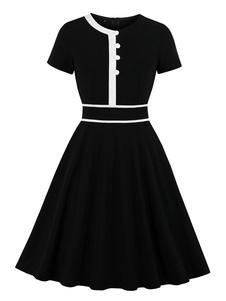 خمر اللباس 1950 ثانية أزرار سوداء قصيرة الأكمام جوهرة الرقبة روكبيلي اللباس