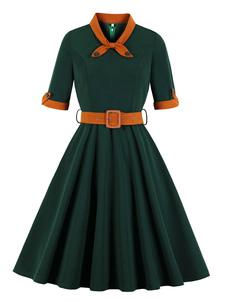 Vestido vintage 2020 acampanado vestido elegante casual vestido verde