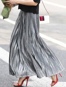 Falda para mujer Rayas plisadas plateadas Glamour Una cintura larga en capas Casual en capas