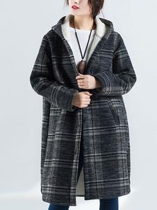 معطف الشتاء المتضخم مقنع الصوف منقوشة اصطف معطف طويل الأكمام