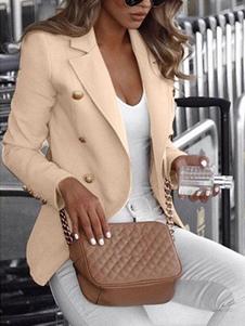 ブレザー 無地 トレンチコート アプリコット レディースアウター ポリエステル 折り襟 長袖 ボタン カジュアル レディースファッション