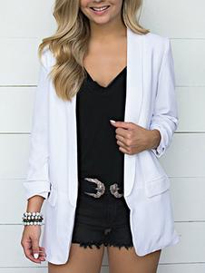 Женская куртка-пиджак с отложным воротником и длинными рукавами