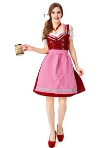 Trajes Traje menina de cerveja Lace guingão Ruffles vestido de algodão Oktoberfest