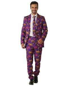 الرجال جنون البدلة سبعينيات القرن العشرين الرجعية الأزياء طباعة اليقطين دعوى هالوين زي