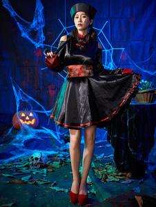 Trajes de Halloween de vampiro preto imprimir trajes de férias de zumbi chinês