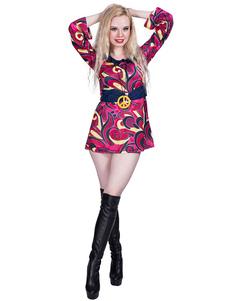 Costume Carnevale Costumi retrò anni '80 Abito con volant rosa Costumi di Halloween hippy