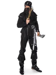 Costume Carnevale Costumi di Carnevale da uomo nero di Halloween Rivetto Costume da pirata