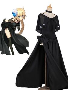 Carnaval Fate Grand Order Cosplay Joan Of Arc vestido de noche negro uniforme de tela Anime Cosplay disfraz