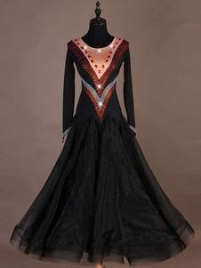 Trajes de dança de salão Gem Jeweled Bead Black Women Dress Dance Dress