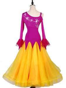 Trajes de dança de salão Rhinestone Ruffle Dress Rose Women Dance Wear
